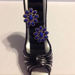 Gold Tone Bluish Purple Earrings
